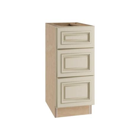 Assembled Kitchen Cabinets Hton Bay Assembled 18x34 5x24 In 3 Drawer Base Cabinet With Soft In Warm White