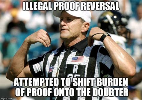 Ad Hominem Meme - ref blows whistle and throws flags on logical fallacy plays