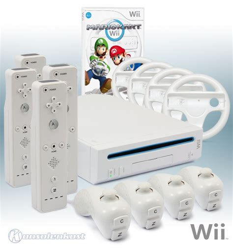 nintendo wii console white incl wii console white incl mario kart 4 remotes 4