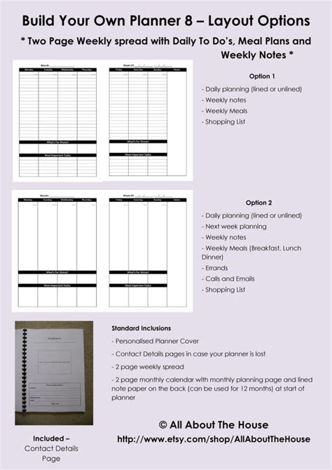 build your own planner personalised weekly planner any year 2013 2014 family