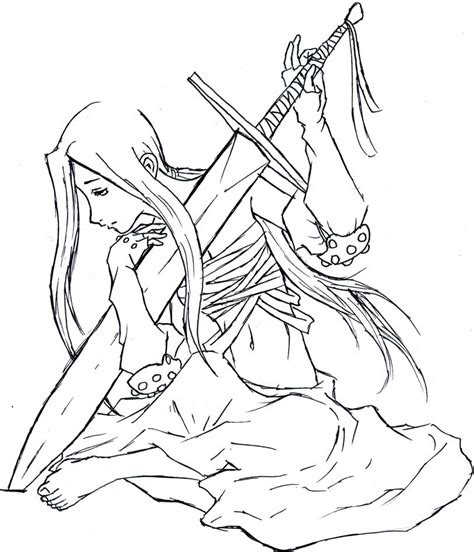 warrior girl coloring page sad female warrior lineart by bloodtear on deviantart