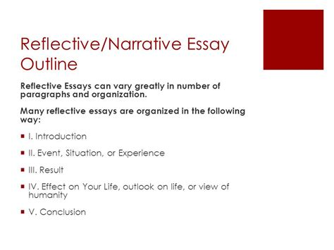 Reflective Narrative Essay by Reflective Essay Outline Thesis Essay Exle College Vs High School Essay With Business