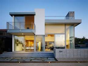 contemporary 2 story house design with deck