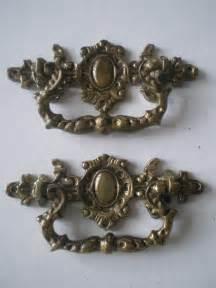 2 antique ornate bronze drawer handle pull pulls lot