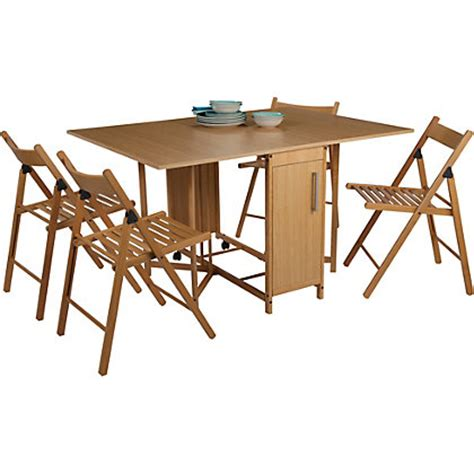 butterfly dining table and 4 oak stain chairs
