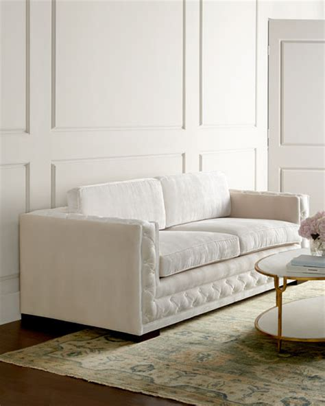 tufted white sofa haute house bently white tufted sofa
