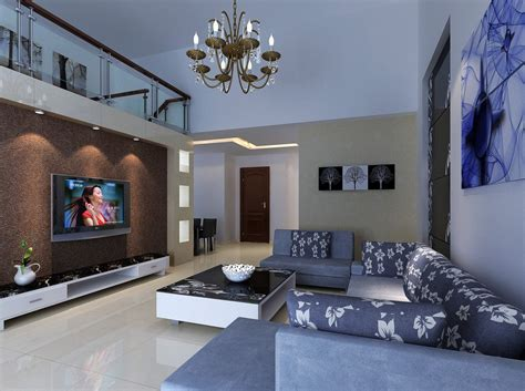 duplex house living room rendering in 3d