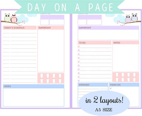day schedule list filofax a5 day on a page in 2 layouts to do list schedule