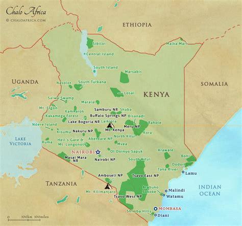 map of kenya africa kenya safari map chalo africa