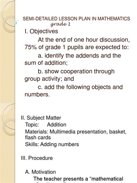 biography lesson plan objectives semi detailed lesson plan in mathematics
