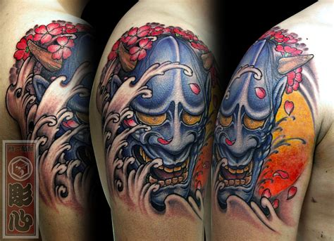 hannya mask cherry blossom tattoo horishin hannya sakura hannya sakura cherry blossom
