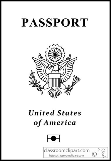 General Clipart Us Passport Outline 213 Classroom Clipart Passport Coloring Page