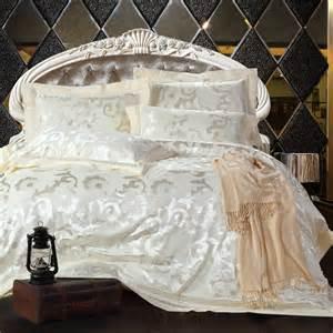 satin comforter luxury 4pcs noble bedding set jacquard satin comforter