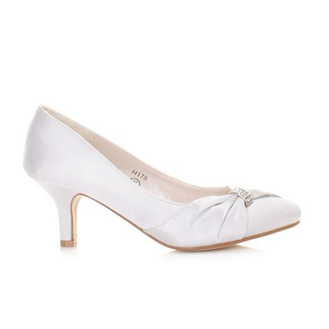 wedding shoes womens silver satin diamante kitten heel