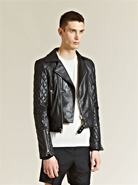 mens black leather motorcycle jacket lyst j w anderson j w anderson mens leather biker jacket