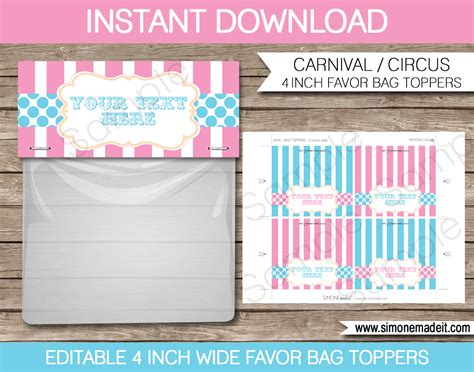 pink carnival printables invitations decorations