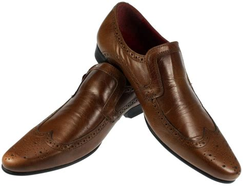 mens brogue slip on leather pointed toe