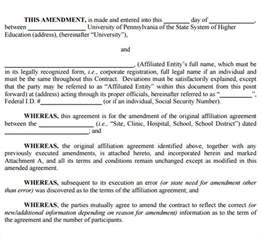 Contract Amendment Template by Contract Amendment Template 9 Free Sles Exles