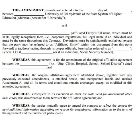 contract amendment template 9 free sles exles