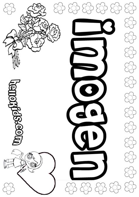 coloring page with name imogen coloring pages hellokids com