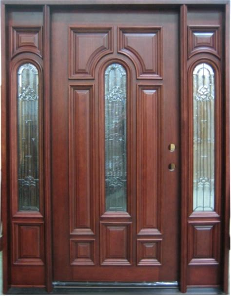 Solid Wood Exterior Entry Doors Solid Wood Mahogany Center Arch With Sidelights Exterior Pre Hung Door