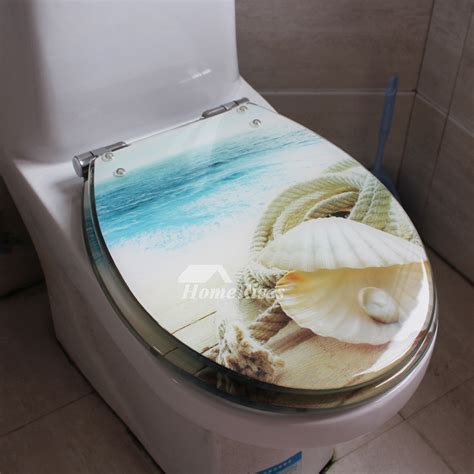 seashell toilet seat blue  type cushion resin colored