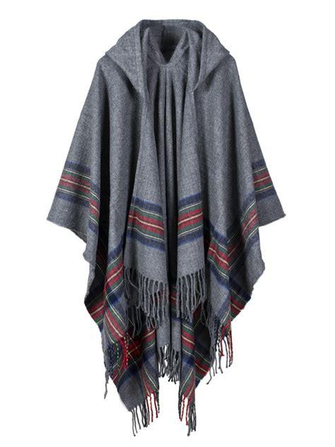 Patchwork Cloak - casual irregular stripe tassels patchwork hooded