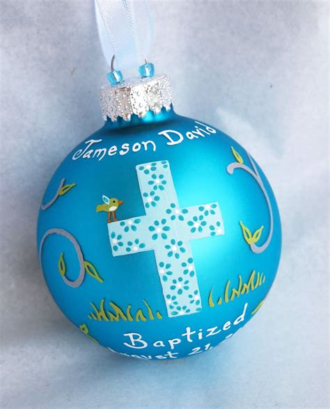baptism ornament boy hand painted and personalized by sarei