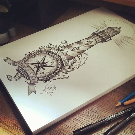 compass tattoo pin nautical compass and lighthouse tattoo design tattoo