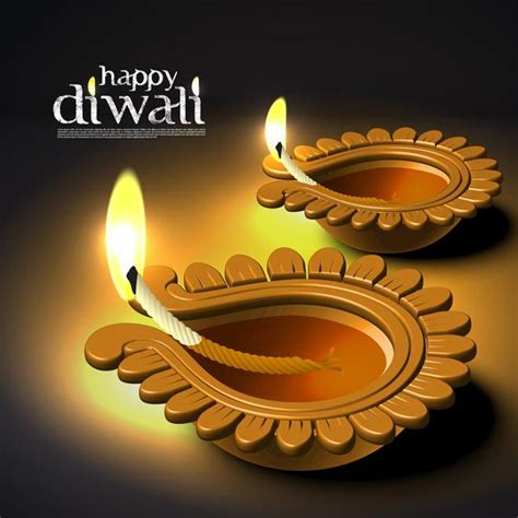free vector of beautiful glowing set of diwali diya