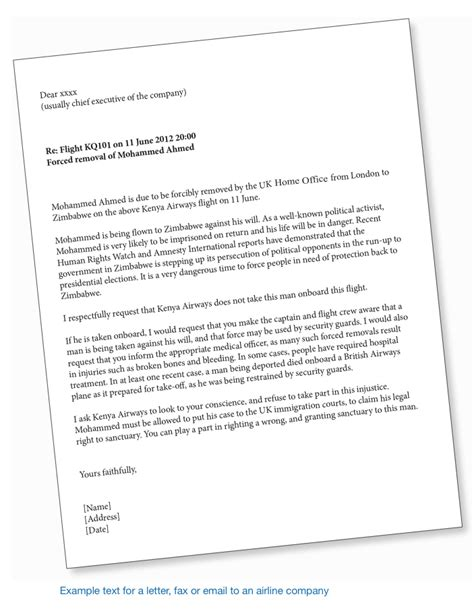 Sle Support Letter For Deportation Right To Remain Toolkit Airline Caigning