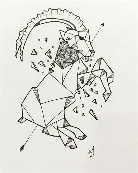 Design Goat Instagram | geometric line mountain goat personalize tattoo