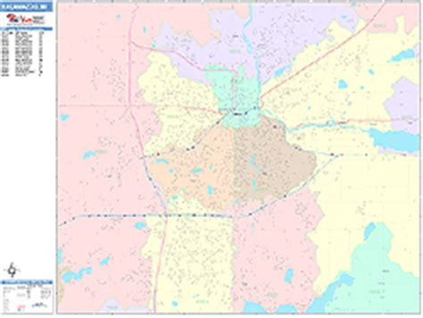 zip code map kalamazoo county kalamazoo michigan wall map color cast style by marketmaps