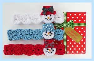 Crochet headband pattern snowman headband by kerryjaynedesigns