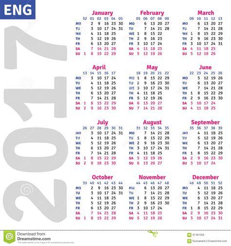 Kalender Englisch Calendar 2017 Stock Vector Image Of Business