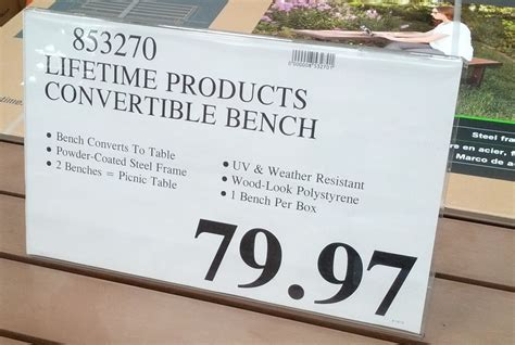 lifetime convertible bench lifetime convertible bench costco weekender