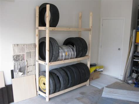 homemade tire rack   home   garage storage