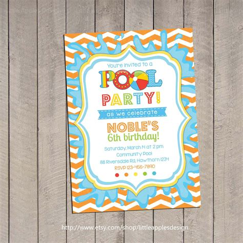 printable birthday invitations etsy kids pool party invitation pool party invitation by