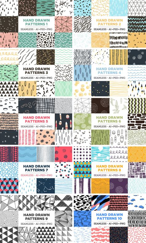 ai pattern color 100 seamless hand drawn patterns