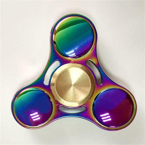 Rainbow Tri Fidget Spinner Multi Color Acak stress relief rainbow gyro triangle fidget finger spinner in multi color twinkledeals