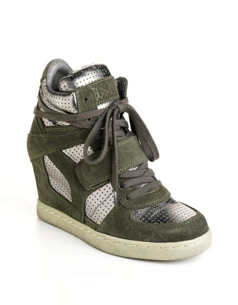 ash cool wedge sneakers ash cool leather wedge sneakers in green camouflage lyst
