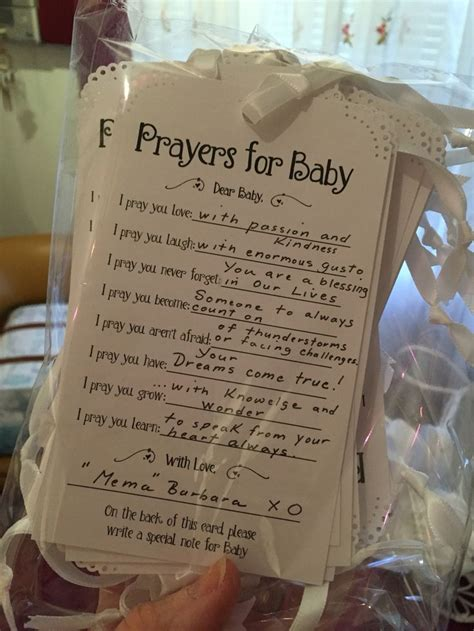 Opening Prayer For Baby Shower by Prayers For Baby Cards For Guests To Fill Out For