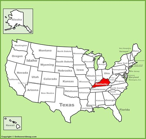 kentucky map america image gallery kentucky on us map