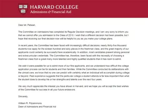 what does your college acceptance or rejection letter