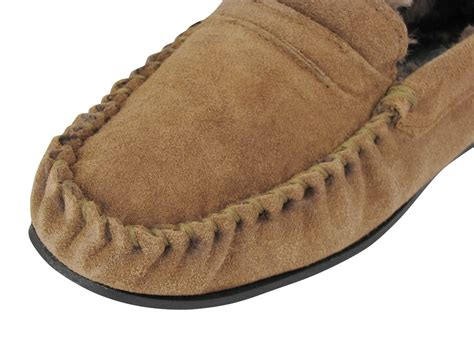 mens leather fur lined slippers mens dunlop moccasin everett slippers suede leather
