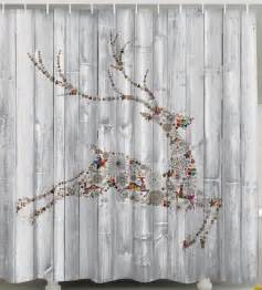 christmas reindeer fabric shower curtain panels holiday gifts presents hearts ebay