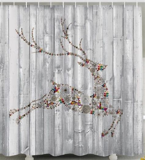 holiday shower curtain christmas reindeer fabric shower curtain panels holiday