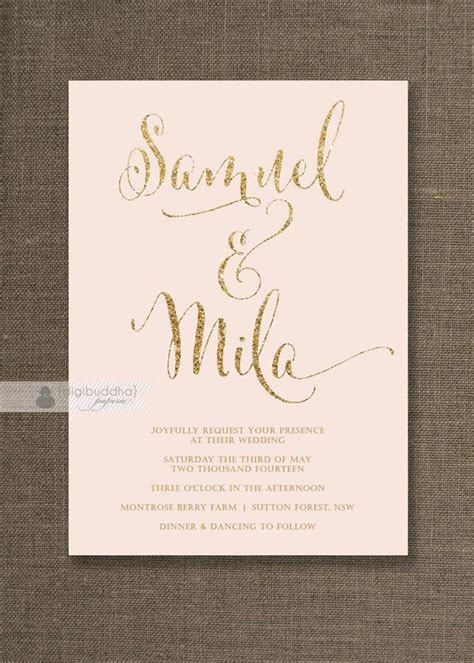 printable wedding invitations gold blush pink gold wedding invitation gold glitter modern