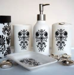 White And Black Bathroom Accessories - damask bathroom set