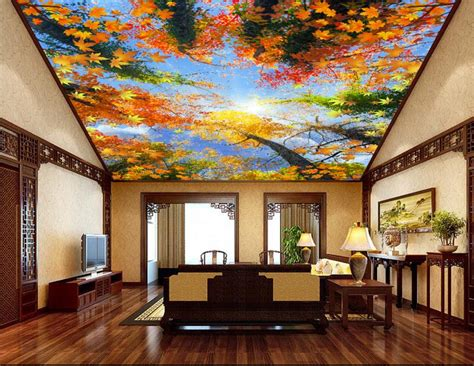customized 3d ceiling wallpaper forest sky ceiling 3d ceiling stickers non woven 3d wallpaper